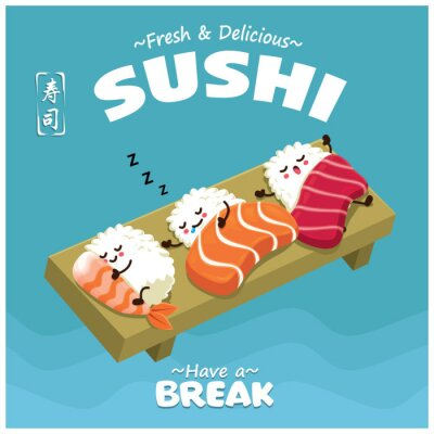 Vintage Sushi poster design with vector Sake, Maguro, Ebi sushi character. Chinese word means sushi.