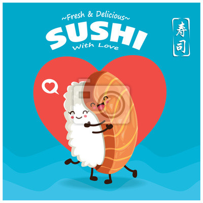 Plakat Vintage Sushi poster design with vector Sake sushi character. Chinese word means sushi.