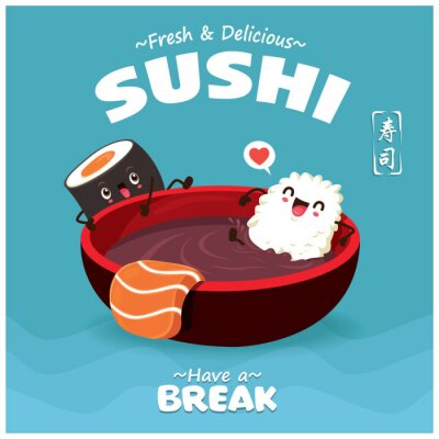 Vintage Sushi poster design with vector Sake sushi character. Chinese word means sushi.
