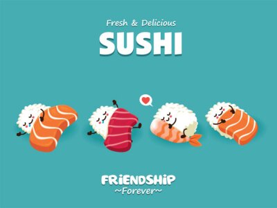 Vintage Sushi poster design with vector sushi characters.