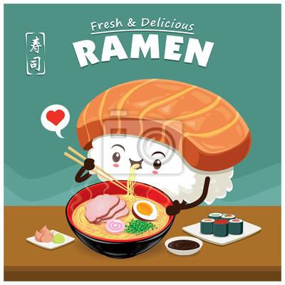 Vintage Sushi ramen projekt plakatu. Chiński słowo oznacza sushi.