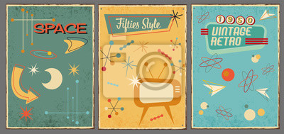 Plakat Vintage symbols and icons of 1950s on used background