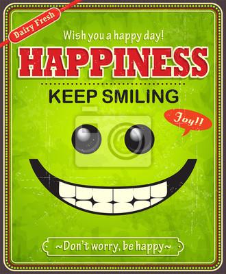 Vintage szczęśliwy projekt plakatu twarz