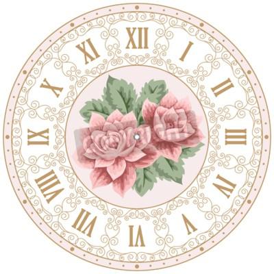 Plakat Vintage tarczy z ręcznie rysowane róż i kręcone kolorowych elementów. Shabby chic ilustracji