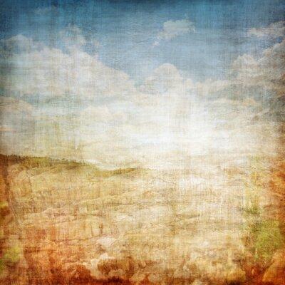 Plakat Vintage tło tkaniny krajobrazu