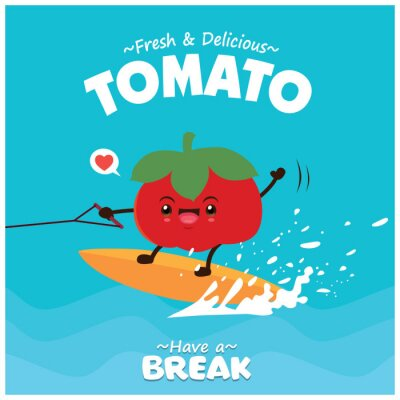 Vintage tomato poster design with vector tomato character.