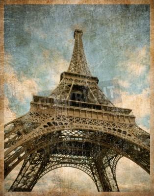 Plakat vintage toned postcard of Eiffel tower in Paris
