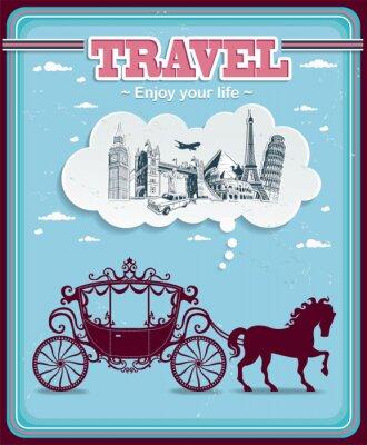 Vintage Travel karetki projekt plakatu