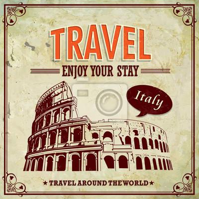 Plakat Vintage Travel Włochy Koloseum w Rzymie etykiet wakacje