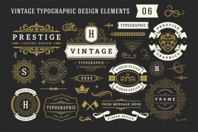Plakat Vintage typographic decorative ornament design elements set vector illustration