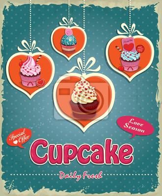 Vintage Valentine Cupcake plakat projekt