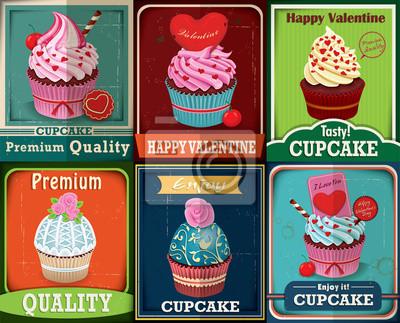 Plakat Vintage Valentine Cupcake plakat scenografia