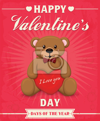 Vintage, Valentine projekt plakatu z misiem