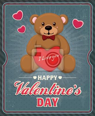 Vintage Valentine projekt plakatu z misiem