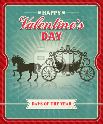 Vintage Valentine projekt plakatu z przewozu