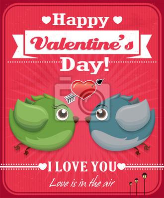 Vintage, Valentine projekt plakatu z ptakami