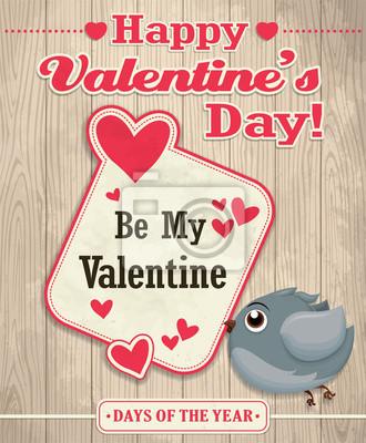 Vintage, Valentine projekt plakatu z ptakiem
