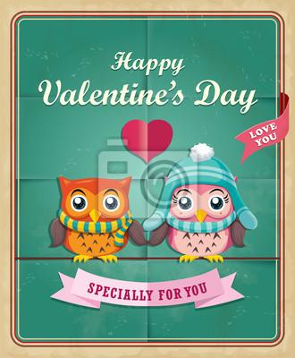 Vintage Valentine projekt plakatu z sowy