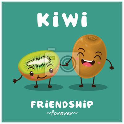 Vintage vector kiwi cartoon character illustration