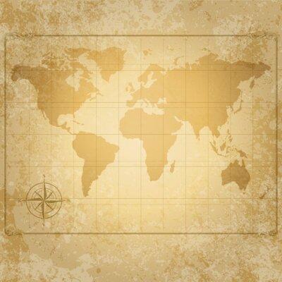 Plakat vintage, vector, mapa świata z kompasem