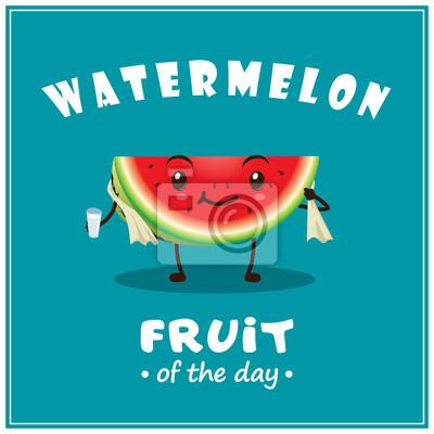Vintage vector watermelon cartoon character illustration