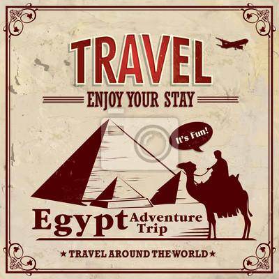 Plakat Vintage wakacje Egipt poster podróży