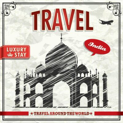 Plakat Vintage wakacje India poster podróży