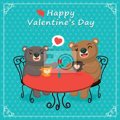 Vintage Walentynki projekt plakatu z para, niedźwiedzie