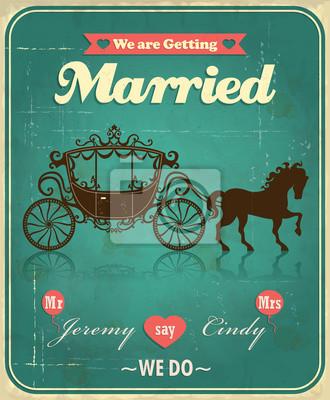 Vintage wedding przewóz projekt plakatu