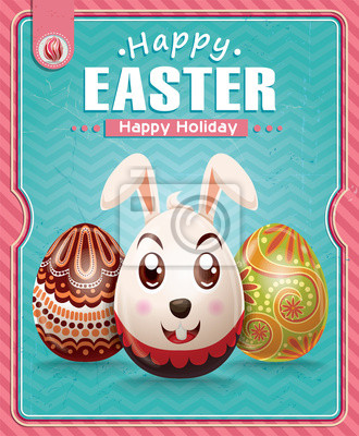 Plakat Vintage Wielkanoc z bunny projekt plakatu