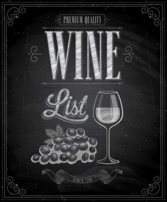 Plakat Vintage Wine List Plakat - Tablica.