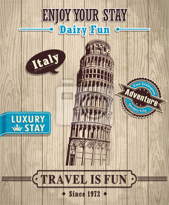 Plakat Vintage Włochy Krzywa Wieża w Pizie plakat wakacje