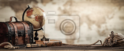 Plakat Vintage World Globe, Suitcase, Compass, Telescope, Book, Rope And Anchor With Map Background And Grunge Effect - Travel Concept