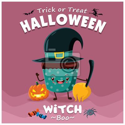 Plakat Vintage wzór Halloween Cupcake plakat z charakterem wektora witch cupcake.