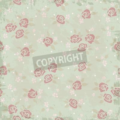 Plakat Vintage wzór tła z róż