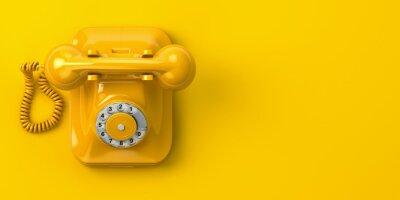 Plakat vintage yellow telephone on yellow background. 3d illustration