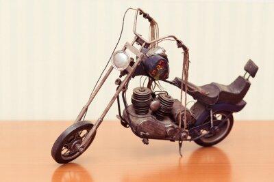 Plakat vintage, zabawka, cyna motocykl