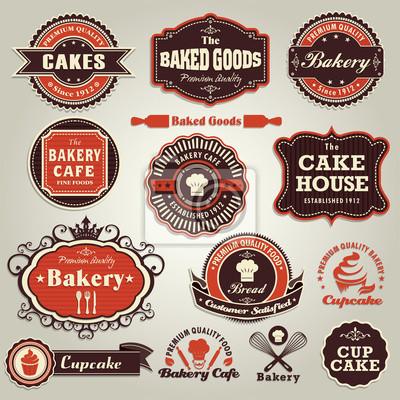 Plakat Vintage zestaw ciastko ramki zestaw etykiet piekarniczych