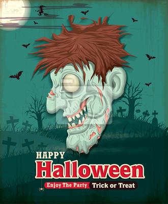Vintage zestaw Halloween z zombie projekt plakatu