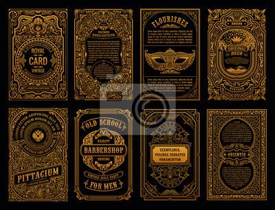 Plakat Vintage zestaw kart retro. Szablon zaproszenia ślubne kartkę z życzeniami. Ramki kaligraficzne linii