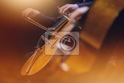 Plakat violoncelle musique classique orchester archet corde instrument symphonique musicien koncert