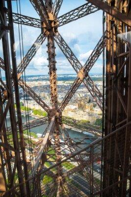 Plakat vista di Parigi dall'ascensore della Torre Eiffel