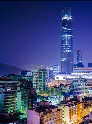 Plakat Vista noturna da Cidade de Santiago Chile