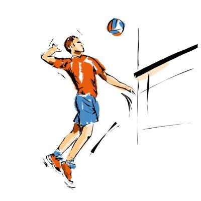 Plakat Volley, illustrazione di una schiacciata di Pallavolo