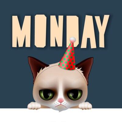 Plakat W poniedziałek rano z cute Grumpy Cat