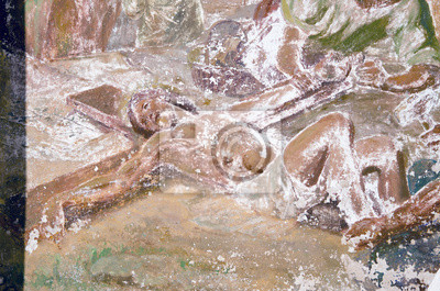Plakat w wieku stare malarstwo ścienne z Jezusem Chrystusem fragment