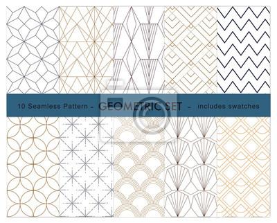W zestawie 10 próbek wzorów geometrycznych
