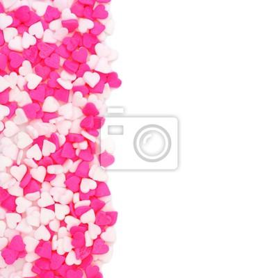d63574981aceb Plakat Walentynki różowe i białe serca cukierki kropi obramowanie nad białym
