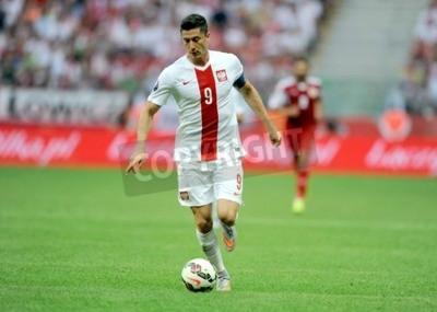 Plakat WARSAW POLAND JUNE 17 2015: EURO EURO 2016 France Football Cup Qualifiers Scotland vs Georgiaop Robert Lewandowski
