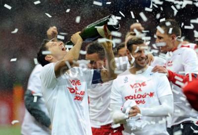 Plakat WARSZAWA, POLSKA - 11 października 2015: EURO 2016 Europejski Okrągły Mistrzostwa Qualifing Francja Polska - Republika Irelandop Robert Lewandowski szampana Grzegorz Krychowiak